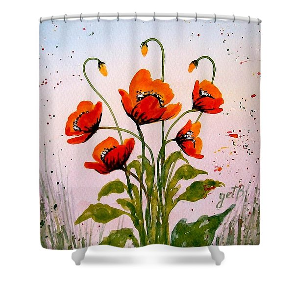 Red Poppies Original Watercolor  Shower Curtain