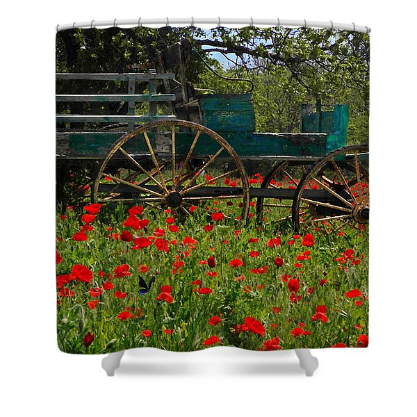 Red Poppies With Wagon Shower Curtain