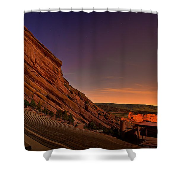 Red Rocks Amphitheatre At Night Shower Curtain