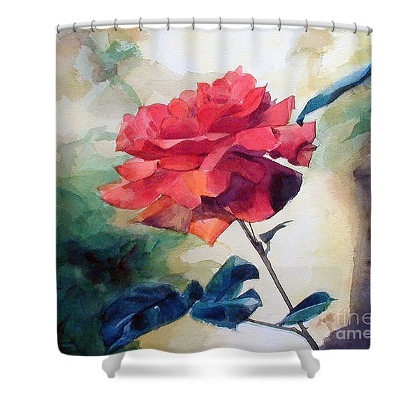 Watercolor Of A Single Red Rose On A Branch Shower Curtain