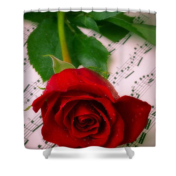 Red Rose On Sheet Music Shower Curtain
