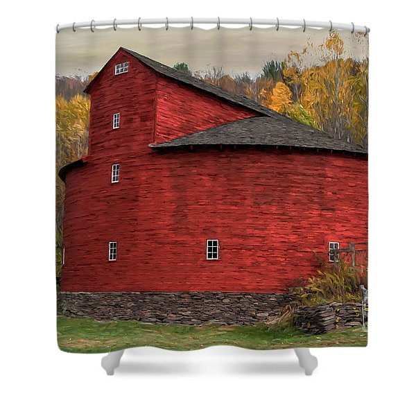 Red Round Barn Shower Curtain
