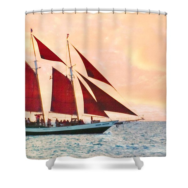 Red Sails Sunset Shower Curtain