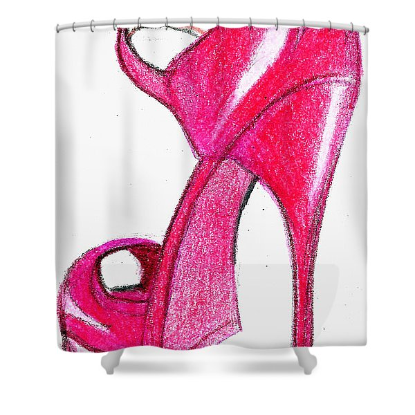 Red Stiletto Shower Curtain
