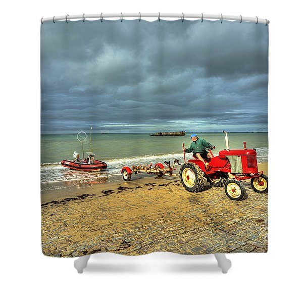 Red Tractor At Arrowmanches Shower Curtain