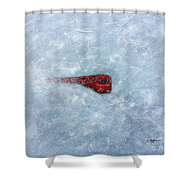 Red Train Braving The Winter Shower Curtain