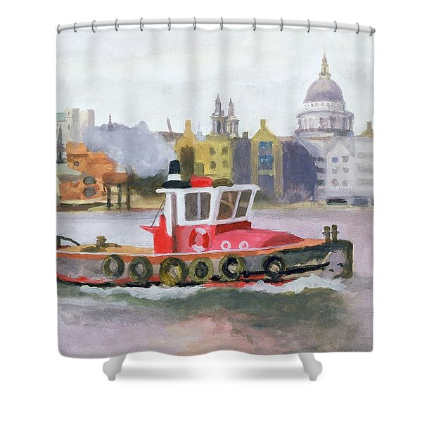 Red Tug Passing St. Pauls, 1996 Shower Curtain