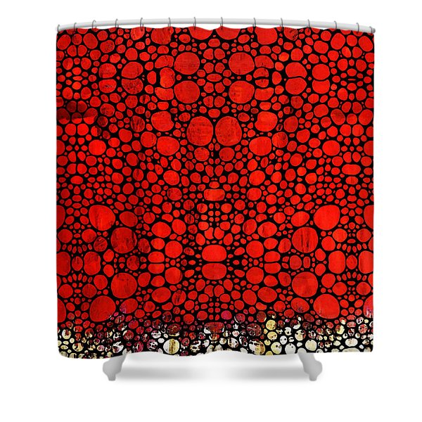 Red Valley - Abstract Landscape Stone Rock'd Art Shower Curtain