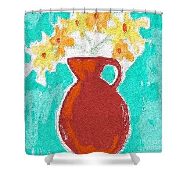 Red Vase Of Flowers Shower Curtain