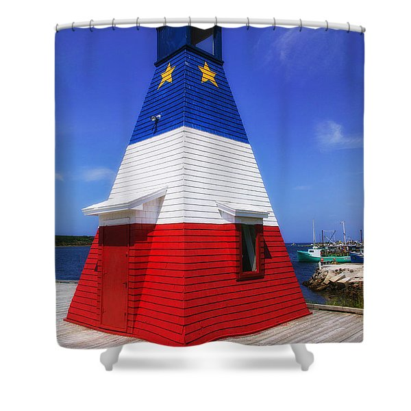 Red White And Blue Lighthouse Shower Curtain