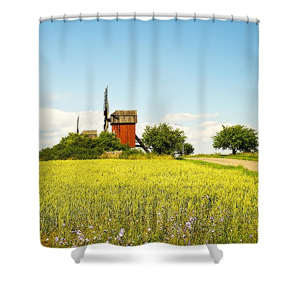 Red Windmill Shower Curtain