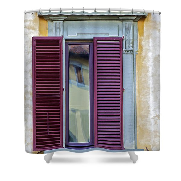 Red Window Shutter  Shower Curtain