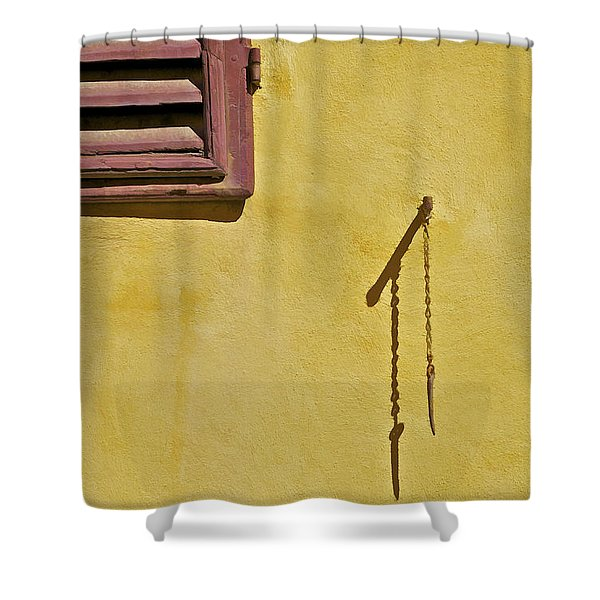 Red Window Shutter Of Tuscany Shower Curtain