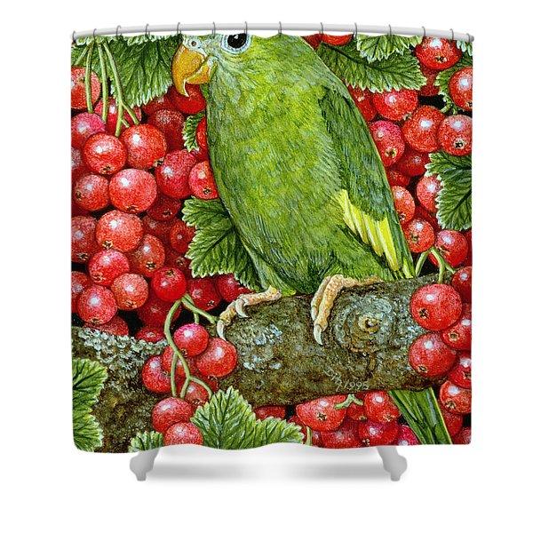 Redcurrant Parakeet Shower Curtain