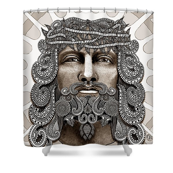 Redeemer - Modern Jesus Iconography - Copyrighted Shower Curtain