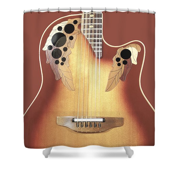 Redish-brown Guitar On Redish-brown Background Shower Curtain