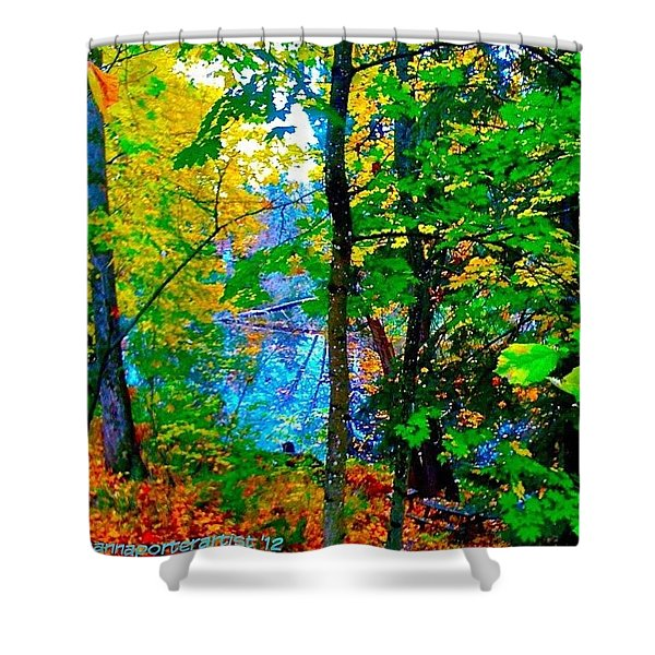 Reed College Canyon Reflections Of Autumn Shower Curtain