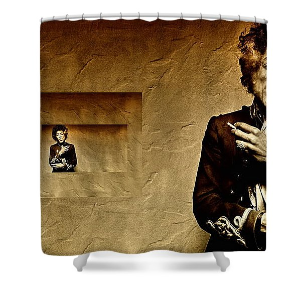 Reflecting On Jimi Hendrix  Shower Curtain