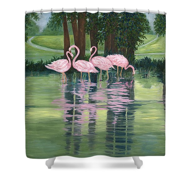 Reflections In Pink Shower Curtain