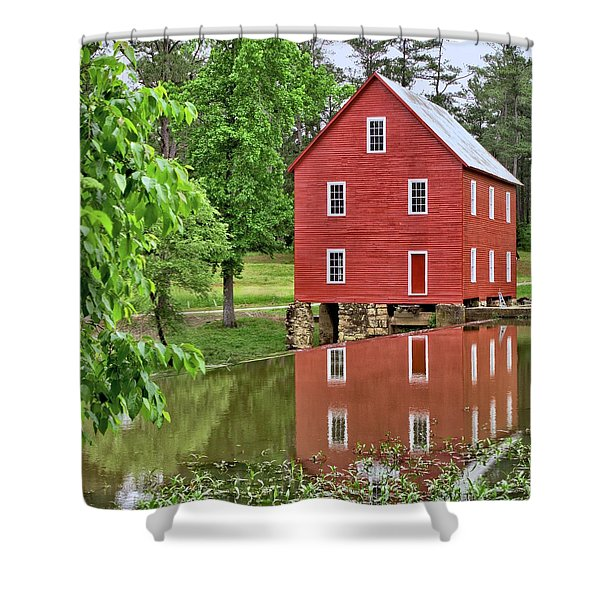 Reflections Of A Retired Grist Mill - Square Shower Curtain