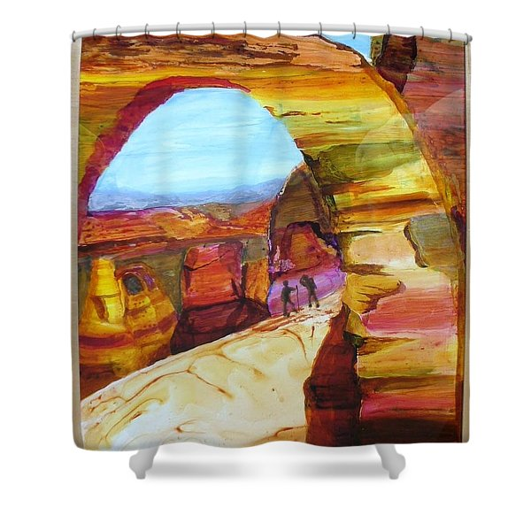 Shower Curtain featuring the painting Rest Break by Keith Thue