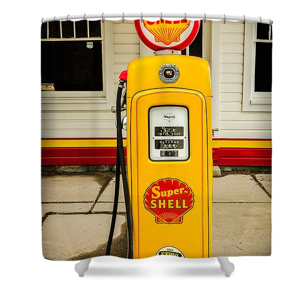Restored Shell Pump On Route 66 Shower Curtain