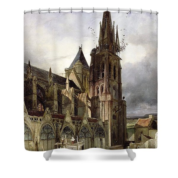 Restoring The Abbey Church Of St. Denis In 1833 Oil On Canvas Shower Curtain