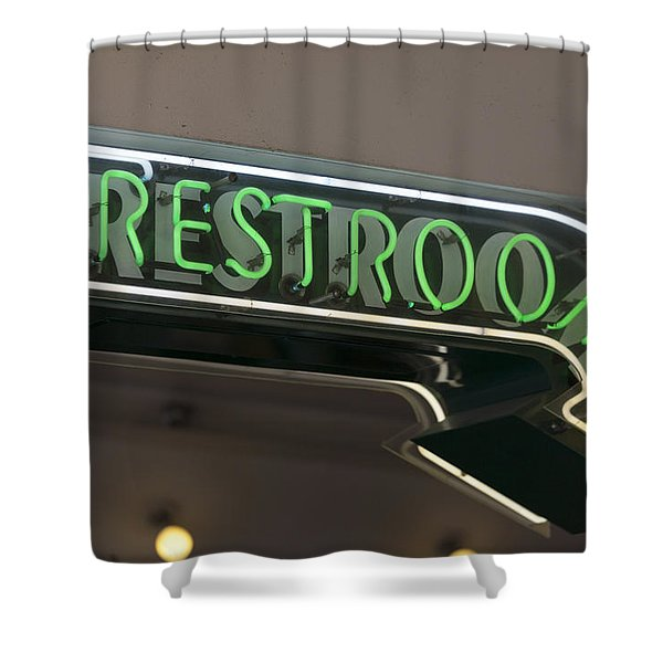 Restrooms In Neon Shower Curtain