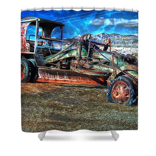 Shower Curtain featuring the photograph Retired Caterpillar by Gunter Nezhoda