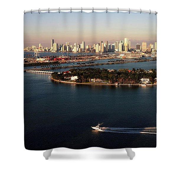 Retro Style Miami Skyline Sunrise And Biscayne Bay Shower Curtain