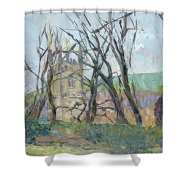 Reverend Hawkers Church At Morwenstow II Oil On Canvas Shower Curtain