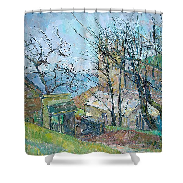 Reverend Hawkers Church At Morwenstow Oil On Canvas Shower Curtain