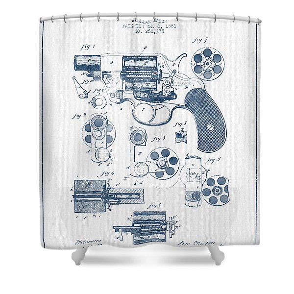 Revolving Firearm Patent Drawing From 1881 -  Blue Ink Shower Curtain