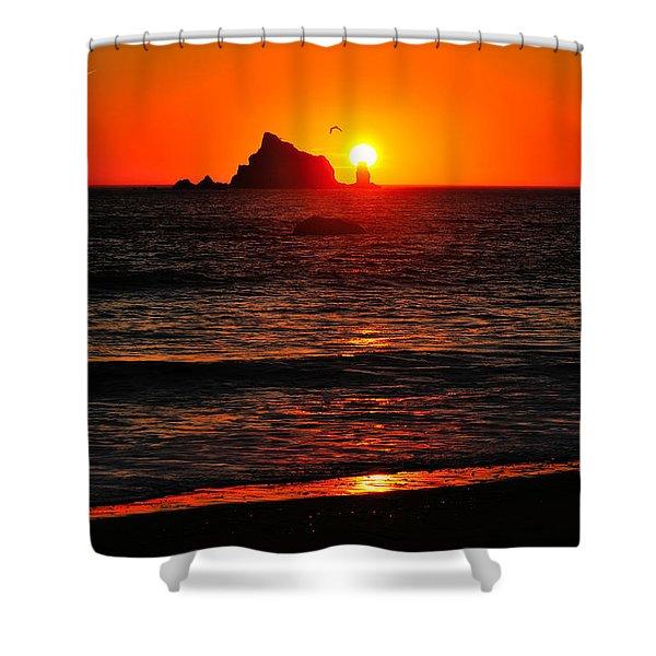 Rialto Beach Sunset Shower Curtain