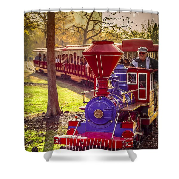Riding Out Of The Sunset On The Hermann Park Train Shower Curtain