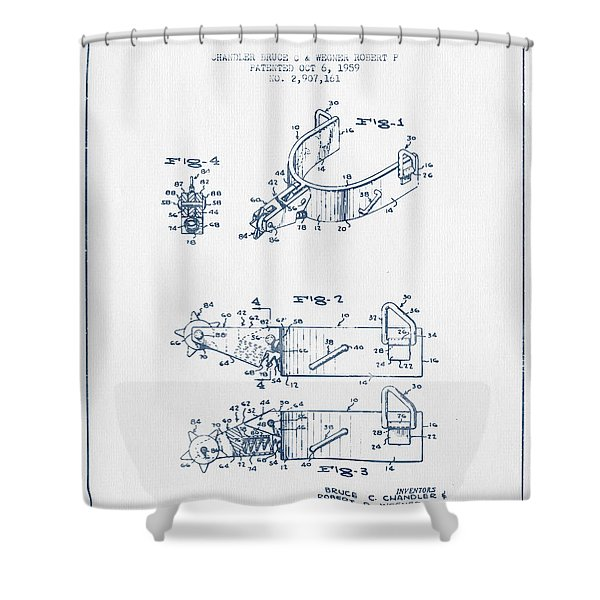 Riding Spurs Patent Drawing From 1959 - Blue Ink Shower Curtain