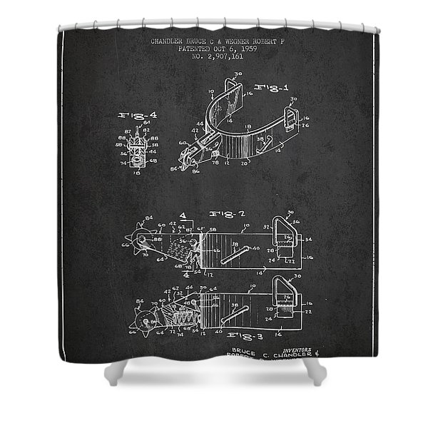 Riding Spurs Patent Drawing From 1959 - Dark Shower Curtain