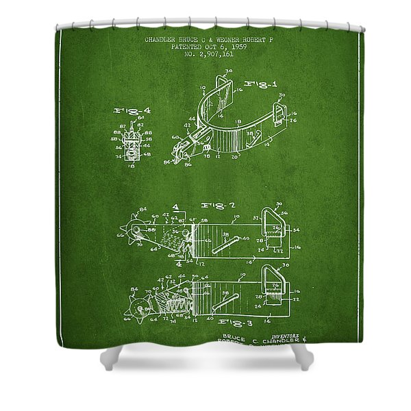 Riding Spurs Patent Drawing From 1959 - Green Shower Curtain