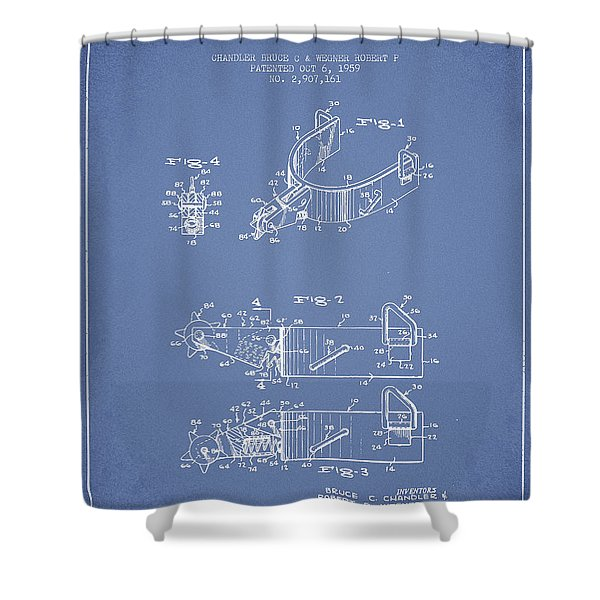 Riding Spurs Patent Drawing From 1959 - Light Blue Shower Curtain
