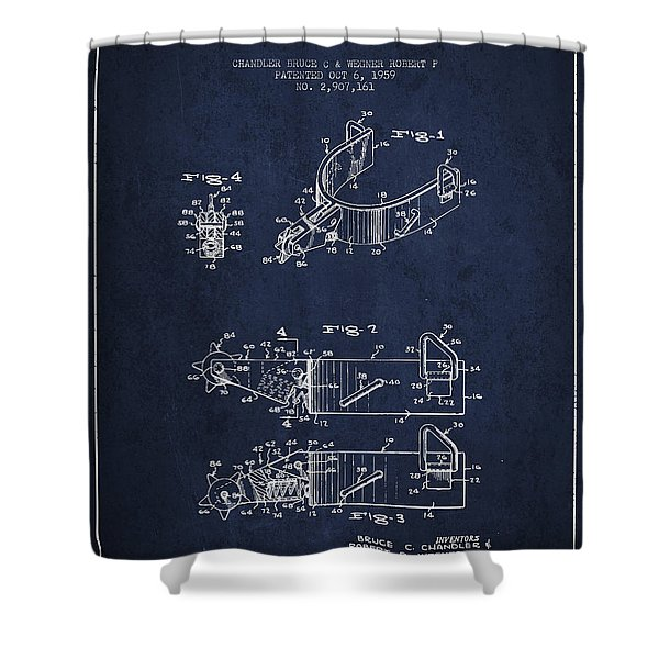 Riding Spurs Patent Drawing From 1959 - Navy Blue Shower Curtain