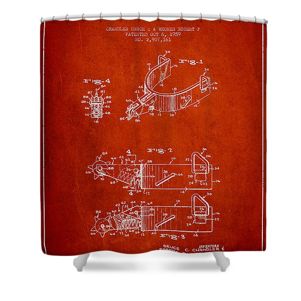 Riding Spurs Patent Drawing From 1959 - Red Shower Curtain