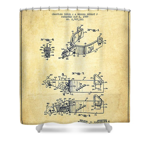Riding Spurs Patent Drawing From 1959 - Vintage Shower Curtain