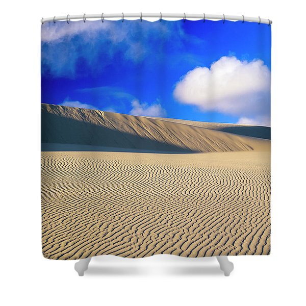 Rippled Sand And Dunes With Blue Sky Shower Curtain