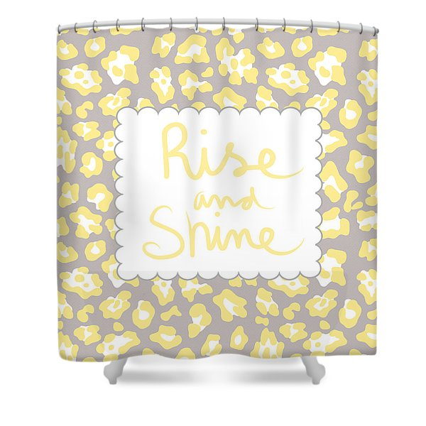 Rise And Shine- Yellow And Grey Shower Curtain
