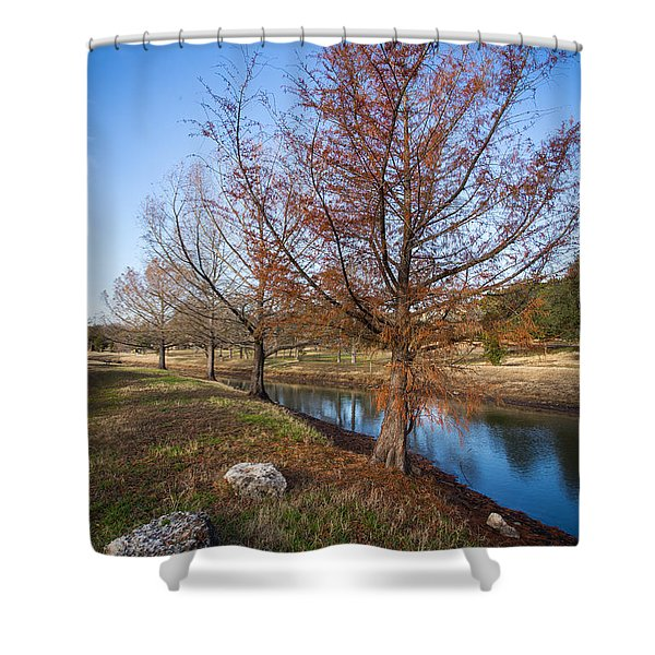 Shower Curtain featuring the photograph River And Winter Trees by John Wadleigh