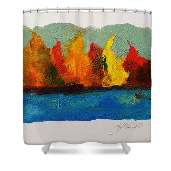 River Bank In Color Shower Curtain