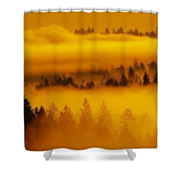 River Fog Rising Shower Curtain