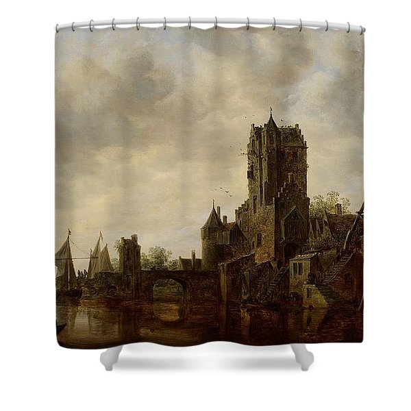 River Landscape With The Pellecussen Gate Near Utrecht Shower Curtain