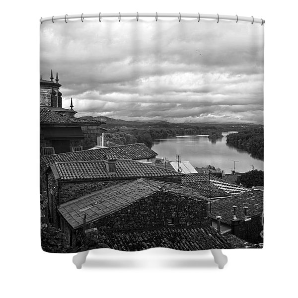 River Mino And Portugal From Tui Bw Shower Curtain