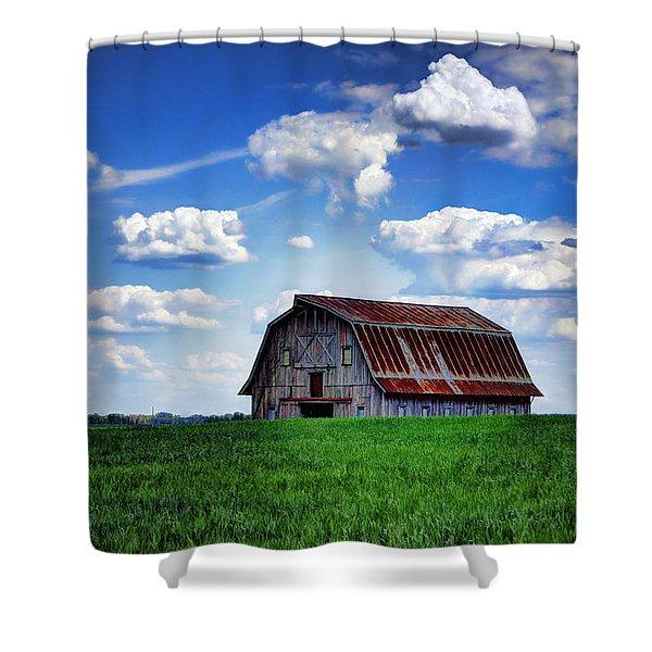 Riverbottom Barn Against The Sky Shower Curtain